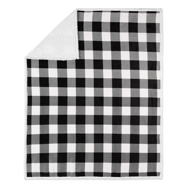 Throw 50x60 Buffalo Plaid White and Black Ultra Soft. Opens flyout.