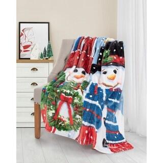 Christmas Throw 50X60 Chickadee Snowmen Ultra Soft
