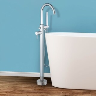 Sorrento Floor Mounted Freestanding Tub Filler - Brushed Nickel - Brushed nickel