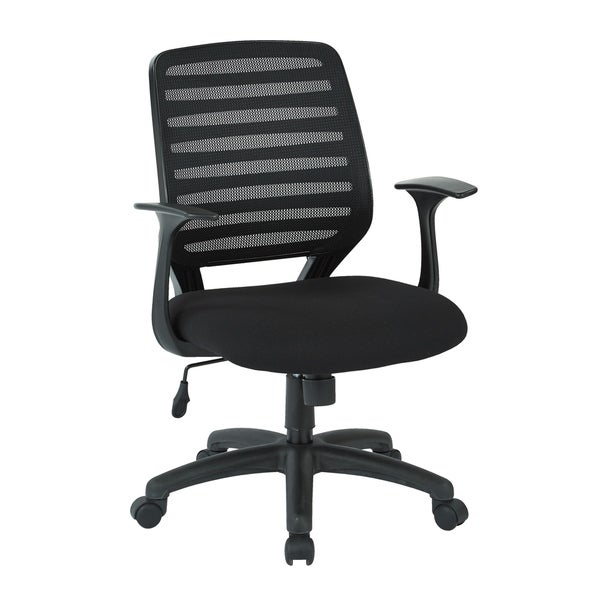 "Screen Back Task Chair with ""T"" Arms and Black Fabric Seat"
