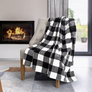 Throw Flannel Printed Ribbed 50x60 White Plaid Ultra Soft