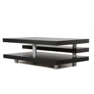 A&X Adrian Modern Multi-Tier Black Oak Coffee Table