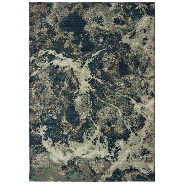 "Organic Abstract Grey/ Blue Area Rug - 3'10"" x 5'5"""