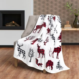 Throw Flannel Printed Ribbed 50x60 Wildlife Ultra Soft