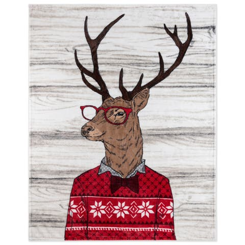 Throw Flannel Printed Ribbed 50x60 Deer Ultra Soft - Multi-color