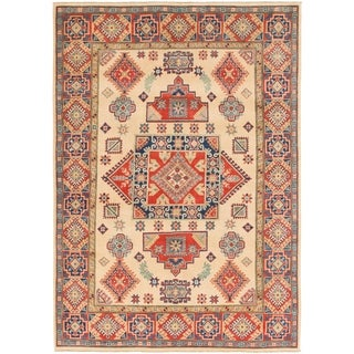 Hand Knotted Kazak Wool Area Rug - 5' 7 x 8' 2