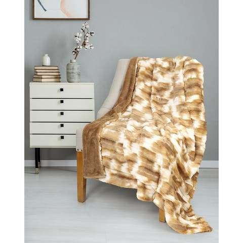 Throw Faux Fur 50x60 Sand & White Ultra Soft - Multi-color