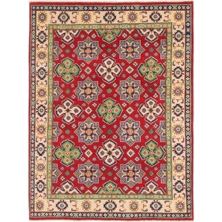 Hand Knotted Kazak Wool Area Rug - 5' 2 x 7'