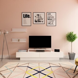 Decorotika La Salle White Wood 71-inch TV Stand and Entertainment Center with Accent Shelves