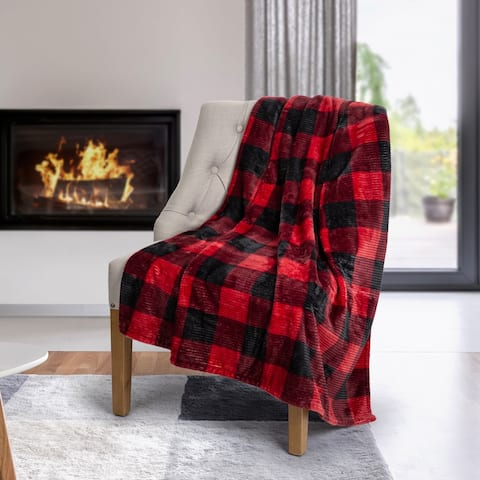 Throw Flannel Printed Ribbed 50x60 Red Plaid Ultra Soft - Multi-color