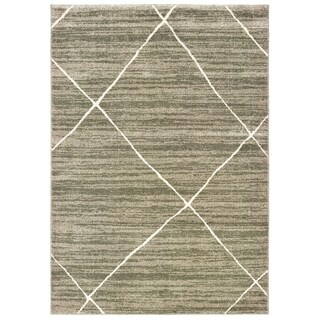 """The Curated Nomad Brush Distressed Geometric Grey/ Ivory Area Rug - 3'10"""" x 5'5"""""""
