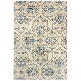 """The Curated Nomad Caledonia Floral Medallion Ivory/ Blue Area Rug - 3'10"""" x 5'5"""""""