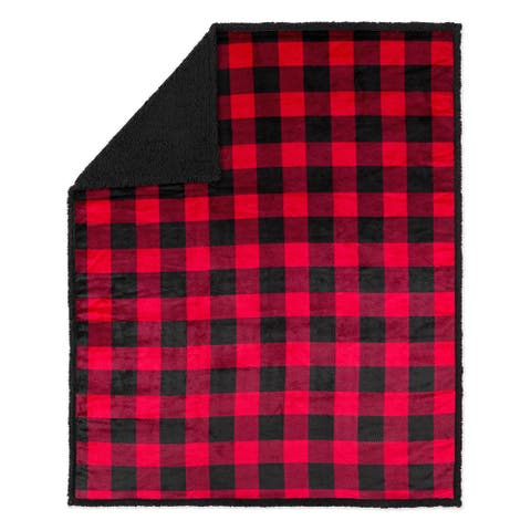 Throw 50x60 Buffalo Plaid Red and Black Ultra Soft