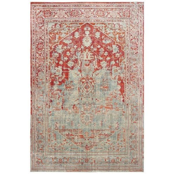 "Faded Medallion Grey/ Orange Area Rug - 3'10"" x 5'5"""