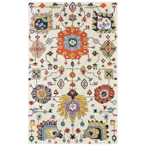 "Floral Tribal Hand-tufted Wool Ivory/ Orange Area Rug - 3'6"" x 5'6"""