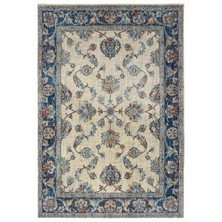 """Bordered Traditional Ivory/ Blue Area Rug - 3'10"""" x 5'5"""""""