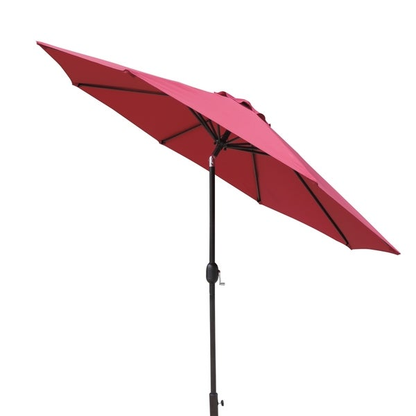 Trinidad 9-ft Octagonal Market Umbrella in Burgundy Polyester with Wind Vent, Weather-Resistant, 57-sqft of Shade