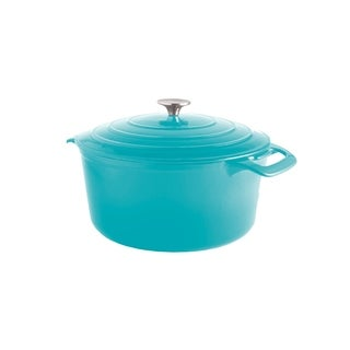 Cooks Tools Enamel Cast Iron Porcelain Coated 7 QT Dutch Oven, Teal