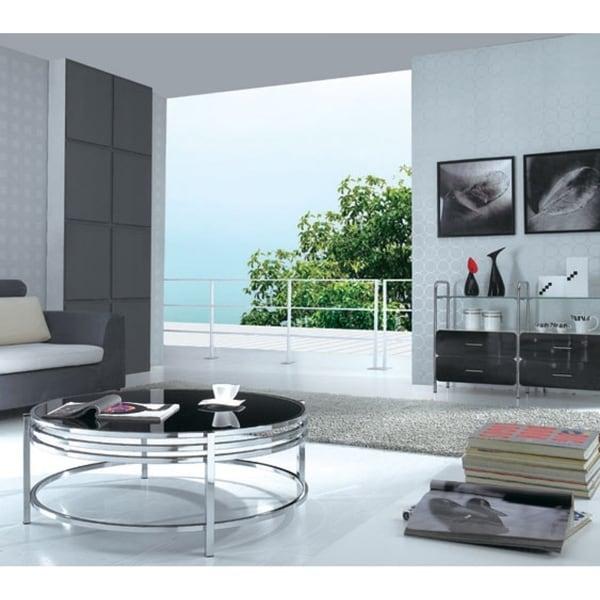Black Glass Round Coffee Table: Shop Modrest Dena Contemporary Black Glass Round Coffee