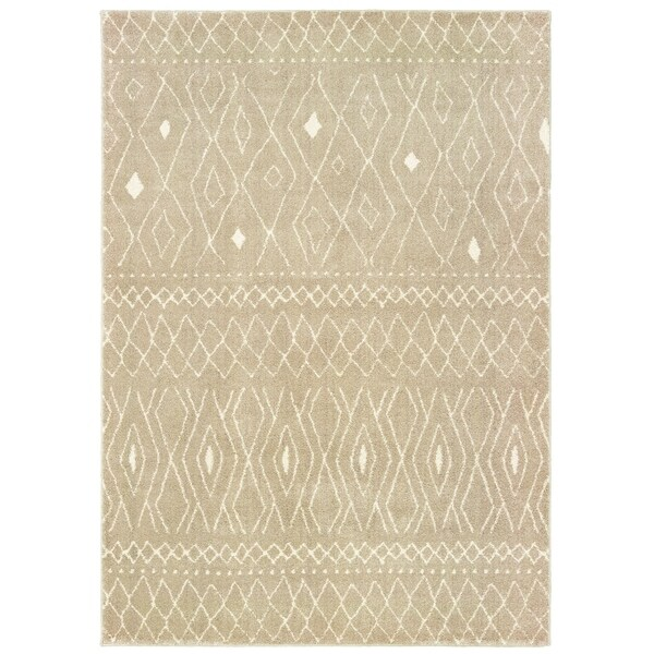 """Tribal Reflections Sand/ Ivory Area Rug - 3'10"""" x 5'5"""""""