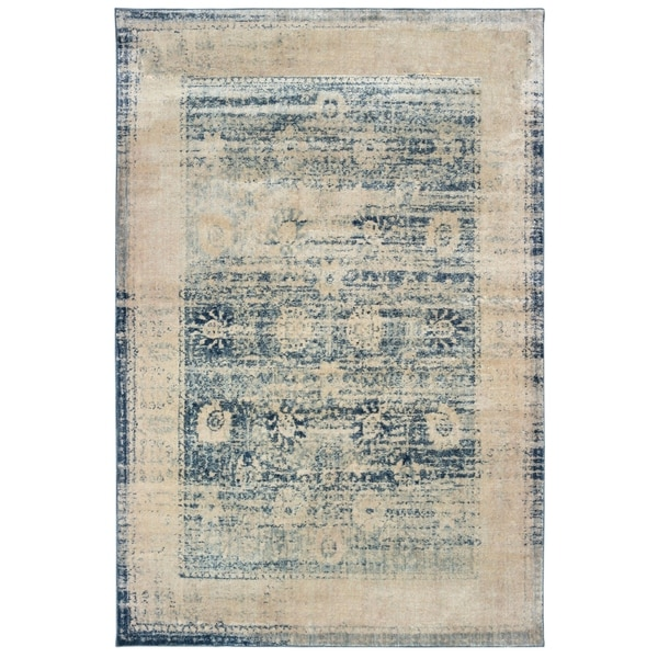 """Distressed Border Traditional Ivory/ Blue Area Rug - 3'10"""" x 5'5"""""""