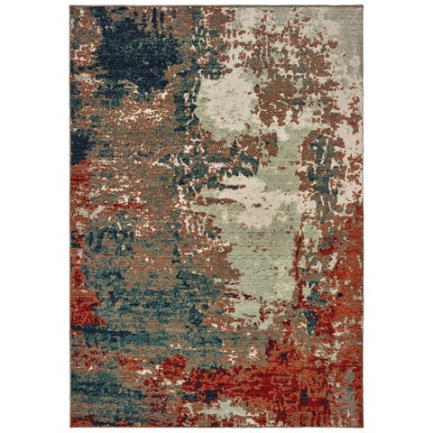 Strick & Bolton Robin Abstract Blue/ Rust Area Rug - 3'10 x 5'5