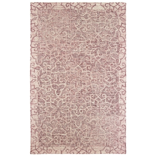 """Silver Orchid Borgato Floral Hand-tufted Wool Area Rug - 3'6"""" x 5'6"""""""