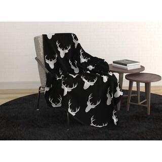 Throw Super Soft Print. W/ Faux Fur Back 50x60 Black Ultra Soft