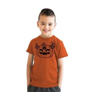 Youth Monster Pumpkin TShirt Funny Halloween Trick Or Treat Tee