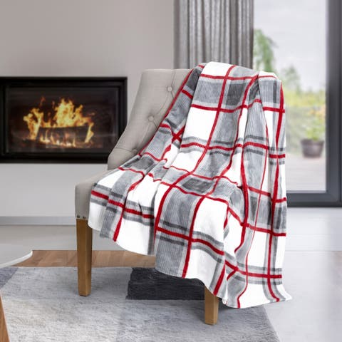 Throw Flannel Printed Ribbed 50x60 Plaid Ultra Soft - Multi-color