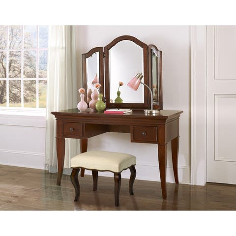 Gracewood Hollow Zitouni Backless Vanity Stool with Nail Head Trim in Burnished Oak