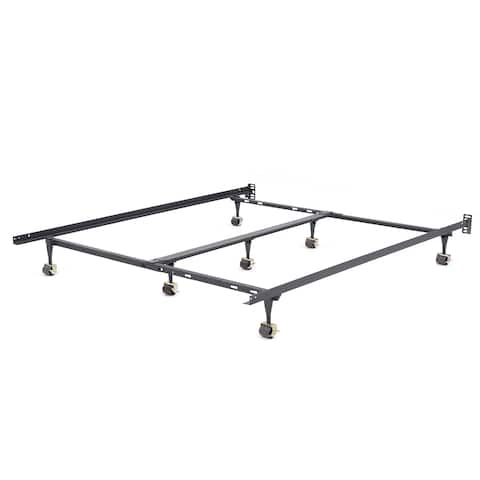 OSleep Universal Black Metal Heavy-duty Adjustable Width Bed Frame for Twin through California King
