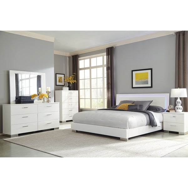Strick Bolton Alice White 4 Piece Bedroom Set With Led Headboard