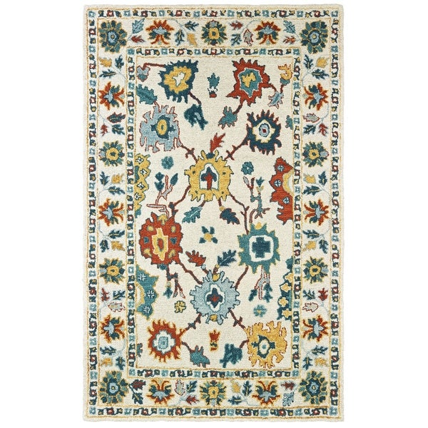 "The Curated Nomad Sunnyside Floral Hand-tufted Wool Ivory/ Gold Area Rug - 3'6"" x 5'6"""
