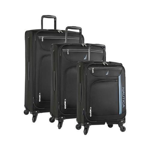 Nautica Washboard 3-Piece Luggage Set True Black (One Size)