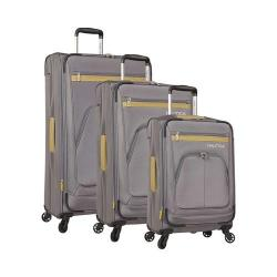 Nautica Brooklyn Bay 3-Piece Luggage Set Grey/Gold