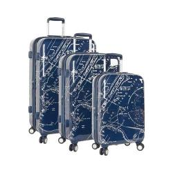 Nautica Shipyard 3-Piece Hardside Set Map Navy