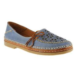 Women's Spring Step Sideway Slip On Blue Leather
