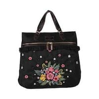 Adira Black Embroidery Garden Nylon with Leather Trimming Backpack