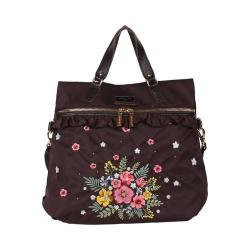 Adira Brown Embroidery Garden Nylon with Leather Trimming Backpack