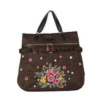 Adira Khaki Embroidery Garden Nylon with Leather Trimming Backpack