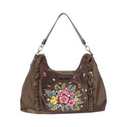 Women's Nicole Lee Adira Embroidery Garden Handbag Khaki