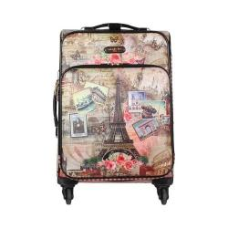 Women's Nicole Lee Cleo 20in Fashion Print Expandable Carry On Vintage European Stamp