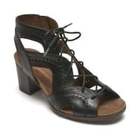 Women's Rockport Cobb Hill Hattie Open Lace Gladiator Sandal Black Leather