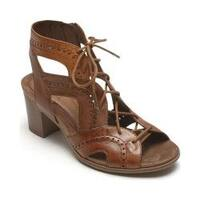 Women's Rockport Cobb Hill Hattie Open Lace Gladiator Sandal Tan Leather