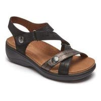 Women's Rockport Cobb Hill Maisy Cross Band Strappy Sandal Black Multi Leather
