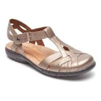 Women's Rockport Cobb Hill Penfield T Strap Sandal Platinum Leather