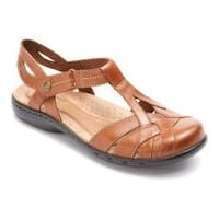 Women's Rockport Cobb Hill Penfield T Strap Sandal Tan Leather