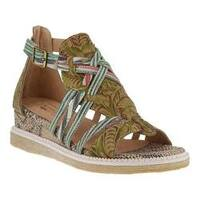 Women's L'Artiste by Spring Step Tashina Wedge Sandal Green Multi Leather