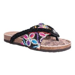 Women's MUK LUKS Elaine Thong Sandal Black Multi Cow Suede/Polyester (3 options available)
